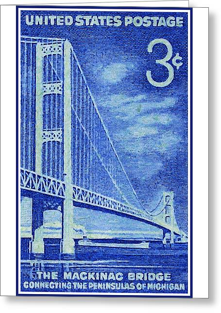 The Mackinac Bridge Stamp Greeting Card by Lanjee Chee
