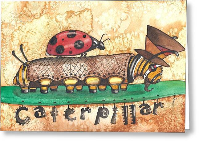 The Mad Caterpillar Greeting Card by Sheri Athwal