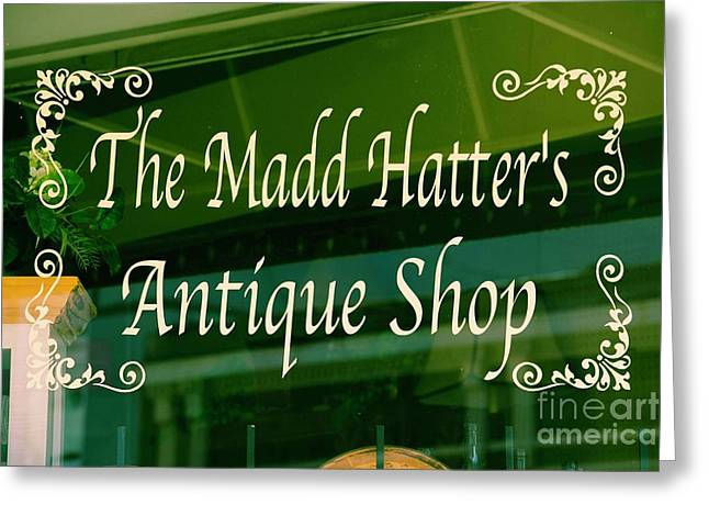 The Mad Hatter Antique Shop  Greeting Card by JW Hanley