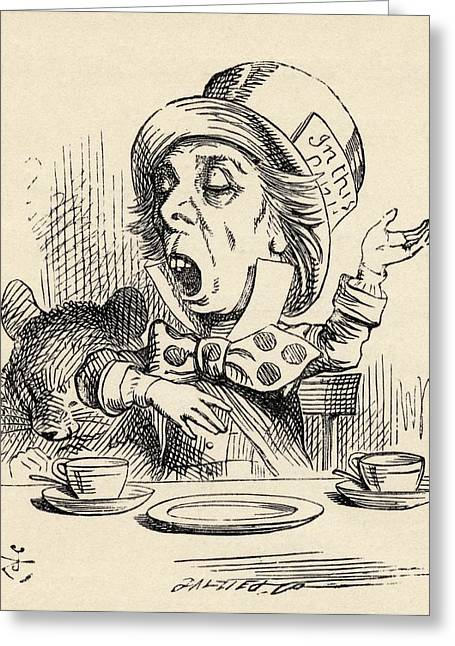 The Mad Hatter Reciting His Nonsense Greeting Card by Vintage Design Pics
