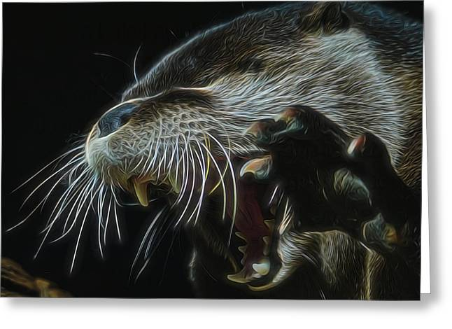 The Mad Otter Greeting Card by Ernie Echols