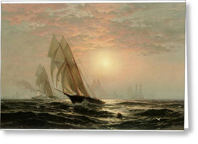 The Madeleine's Victory Over The Countess Of Dufferin America's Cup Greeting Card by Edward Moran