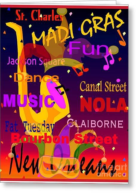 The Madi Gras Greeting Card by Gayle Price Thomas
