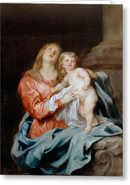 The Madonna And Child Greeting Card by Anthony van Dyck