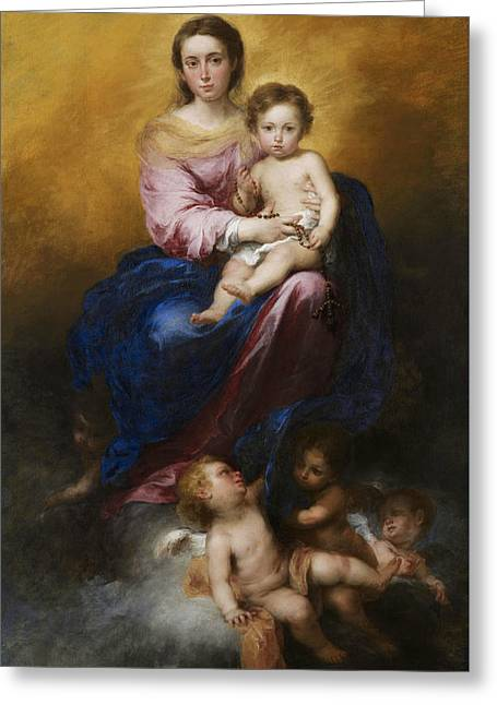 The Madonna Of The Rosary Greeting Card by Bartolome Esteban Murillo