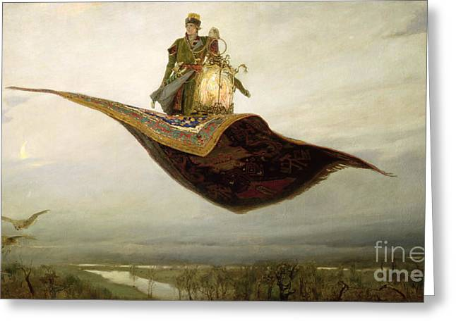 River. Clouds Greeting Cards - The Magic Carpet Greeting Card by Apollinari Mikhailovich Vasnetsov