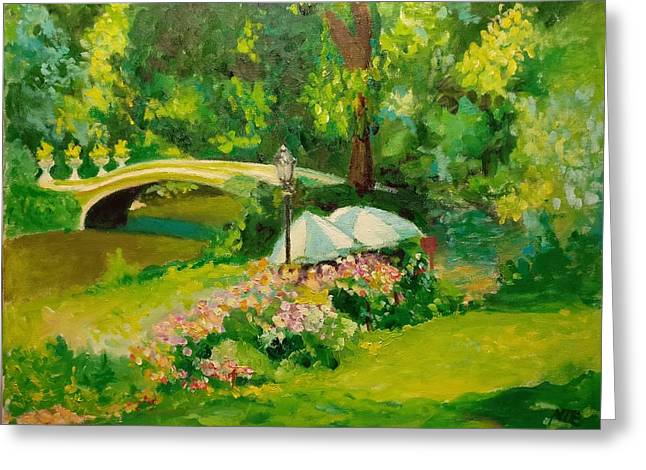 Greeting Card featuring the painting The Magnificent Bow Bridge by Nicolas Bouteneff