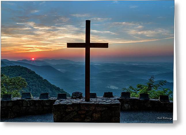 The Magnificent Cross Pretty Place Chapel Greenville Sc Great Smoky Mountains Art Greeting Card
