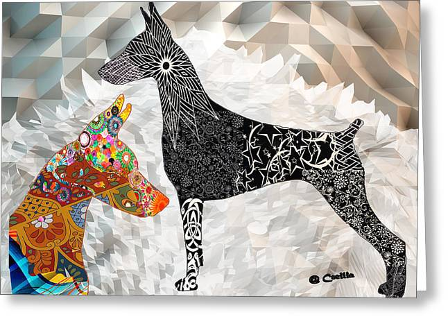 The Magnificent Doberman Greeting Card by Maria C Martinez