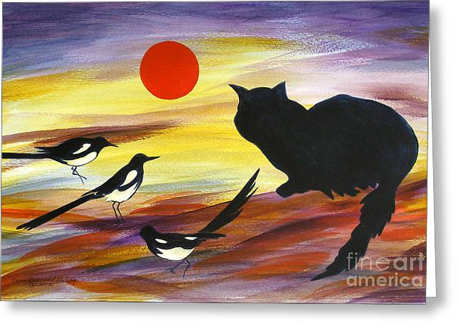 The Magpies Tell Meow Of Red Greeting Card