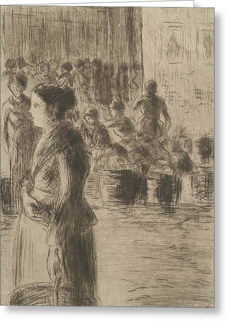 The Maid At The Market Greeting Card by Camille Pissarro