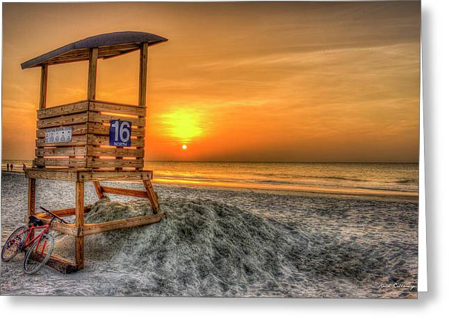 Greeting Card featuring the photograph The Main Attraction Tybee Island Sunrise Lifeguard Stand Beach Art by Reid Callaway