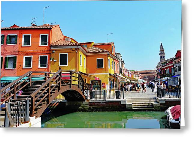 The Main Street On The Island Of Burano, Italy Greeting Card