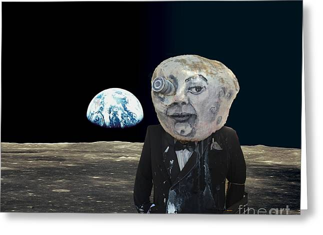 The Man In The Moon Greeting Card by Rafael Salazar