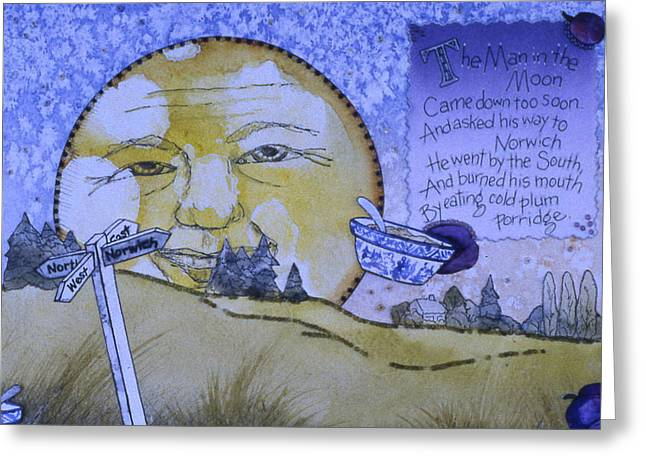 The Man In The Moon Greeting Card by Victoria Heryet