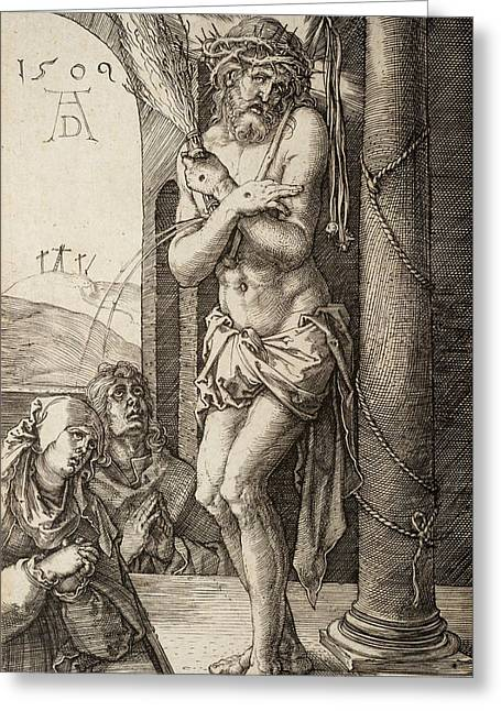 The Man Of Sorrows By The Column With The Virgin And St. John  Greeting Card by Albrecht Durer