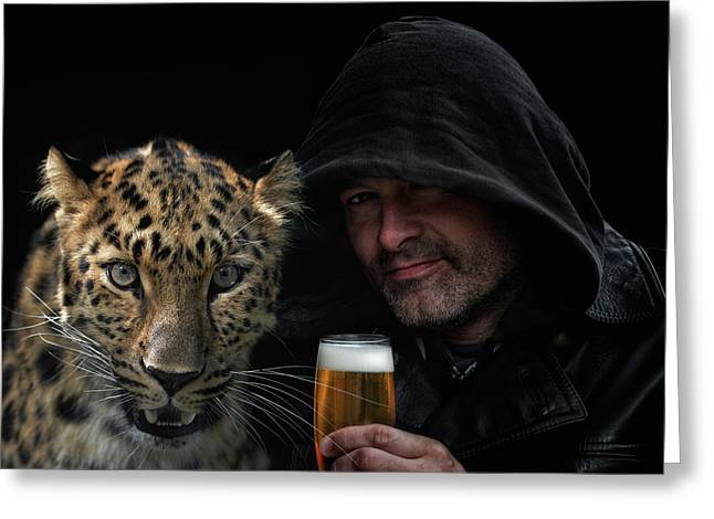 The Man, The Cat And A Beer Greeting Card