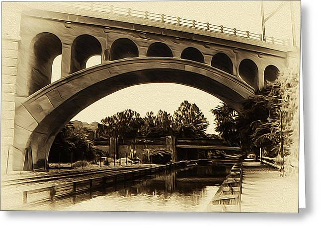 The Manayunk Bridge And Canal Greeting Card by Bill Cannon