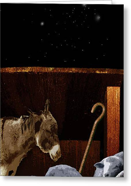 The Manger Greeting Card by Julie Rodriguez Jones