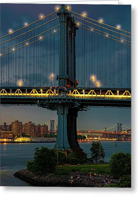 Greeting Card featuring the photograph The Manhattan Bridge During Blue Hour by Chris Lord