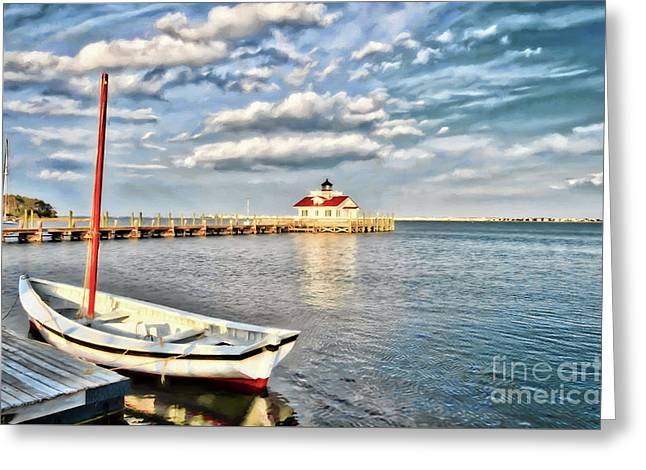 The Manteo Waterfront Greeting Card by Mel Steinhauer