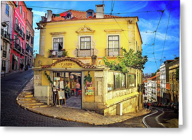 The Many Colors Of Lisbon Old Town  Greeting Card by Carol Japp