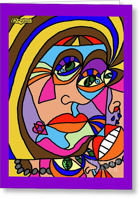 The Many Thoughts Of The Queen Greeting Card by Art by MyChicC