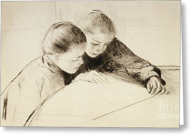 The Map Greeting Card by Mary Stevenson Cassatt