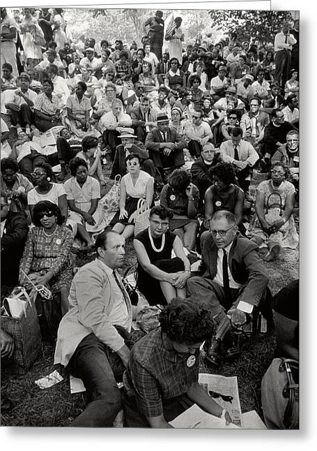 The March On Washington   A Crowd Of Seated Marchers Greeting Card by Nat Herz