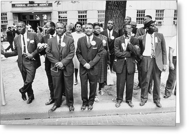The March On Washington  Federal Aviation Agency Workers Watch The Marchers On Constitution Avenue Greeting Card