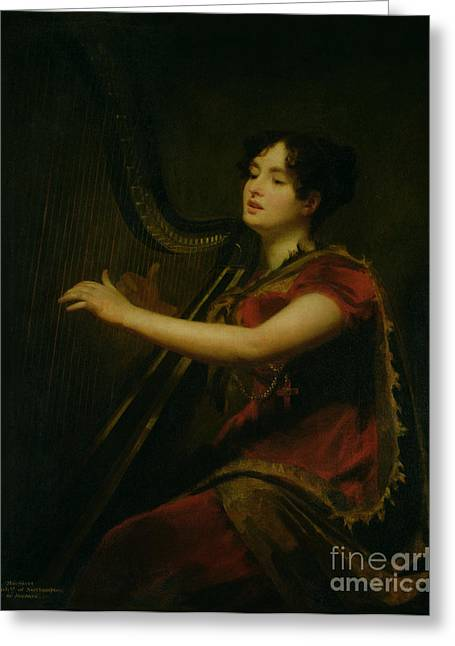 The Marchioness Of Northampton Playing A Harp Greeting Card by Sir Henry Raeburn