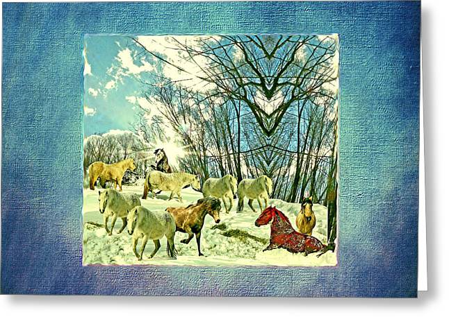 The Mares And Stallions In The Imaginary Winter Pasture Greeting Card by Patricia Keller