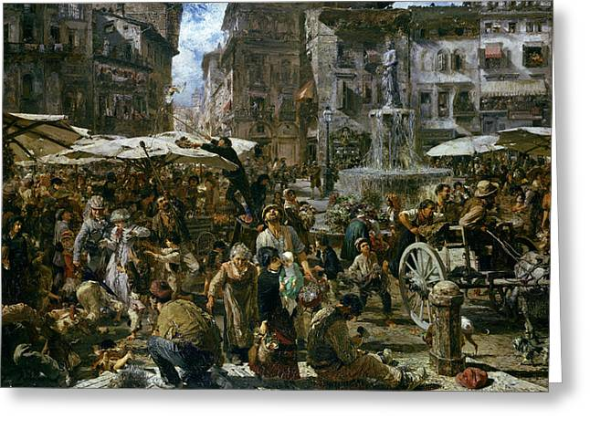 The Market Of Verona Greeting Card by Adolph Friedrich Erdmann von Menzel