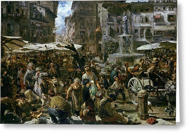 The Market Of Verona Greeting Card