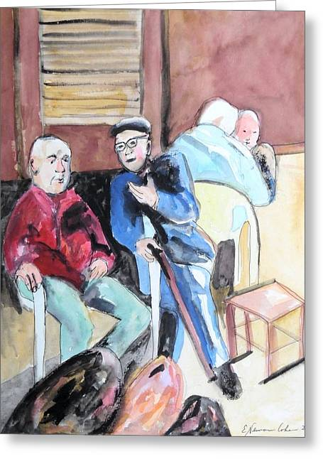 Greeting Card featuring the painting The Market Parliament by Esther Newman-Cohen