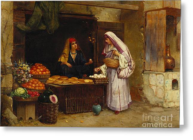 The Market Stall Greeting Card by Rudolphe Ernst
