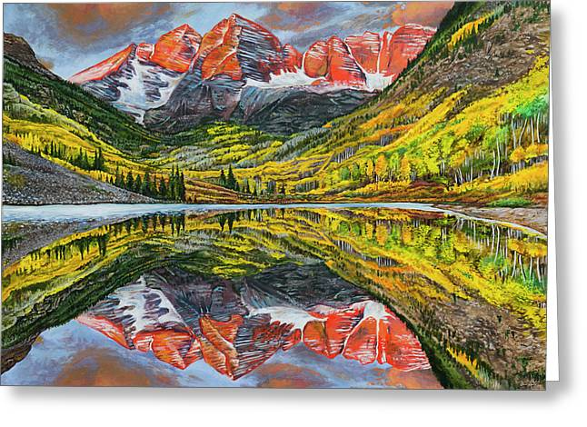 Greeting Card featuring the painting The Maroon Bells  by Aaron Spong