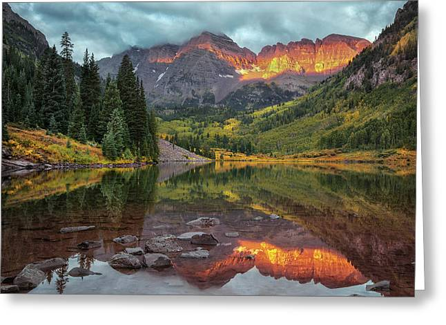The Maroon Bells At Dawn Greeting Card