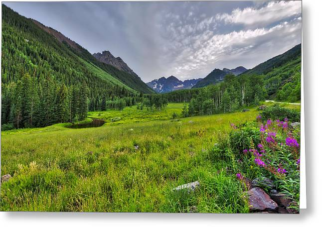 Greeting Card featuring the photograph The Maroon Bells - Maroon Lake - Colorado by Photography By Sai