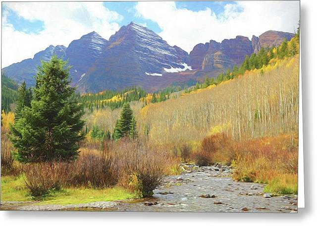 Greeting Card featuring the photograph The Maroon Bells Reimagined 3 by Eric Glaser