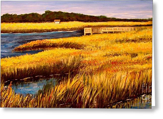 Greeting Card featuring the painting The Marsh At Cherry Grove Myrtle Beach South Carolina by Patricia L Davidson