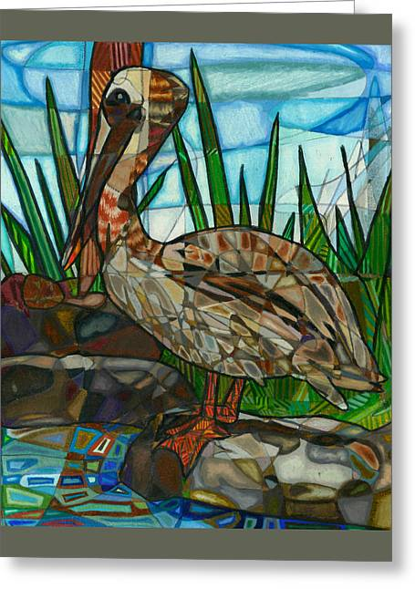 The Marsh Pelican Greeting Card by Michelle Brooksbank