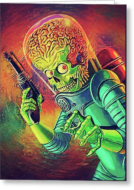 The Martian - Mars Attacks Greeting Card by Taylan Apukovska