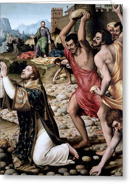 The Martyrdom Of Saint Stephen Greeting Card by Juan de Juanes