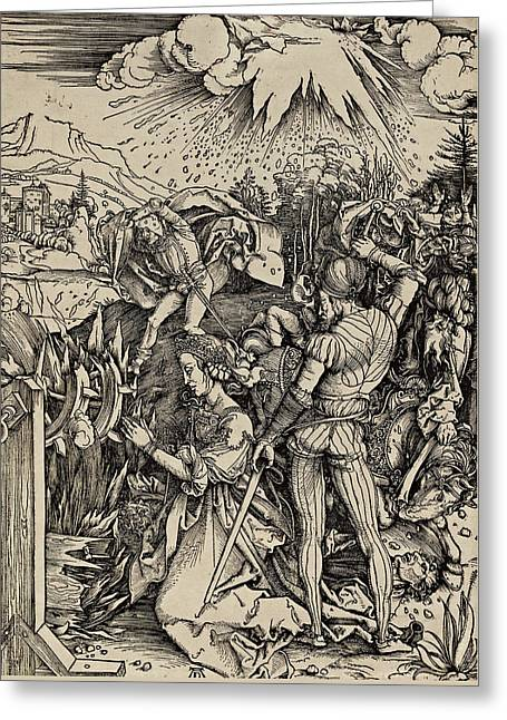 The Martyrdom Of St. Catherine Of Alexandria Greeting Card by Albrecht Durer