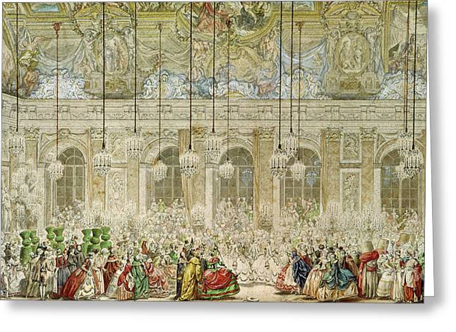 The Masked Ball At The Galerie Des Glaces Greeting Card by Charles Nicolas Cochin II