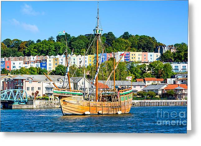 The Matthew In Bristol Harbour Greeting Card by Colin Rayner