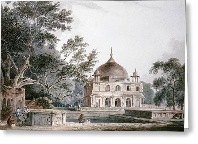 The Mausoleum Of Prince Khusrau Greeting Card by Thomas and William Daniell