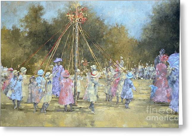 Folk Dancing Greeting Cards - The Maypole  Greeting Card by Peter Miller