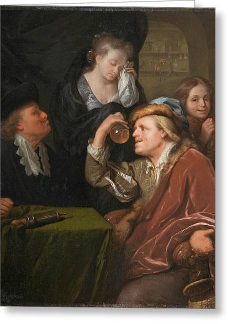 The Medical Examination Greeting Card by Godfried Schalcken